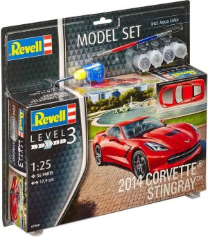 Model Set 2014 Corvette Stingray / nu elk bouwpakket extra gratis hobbymesje !