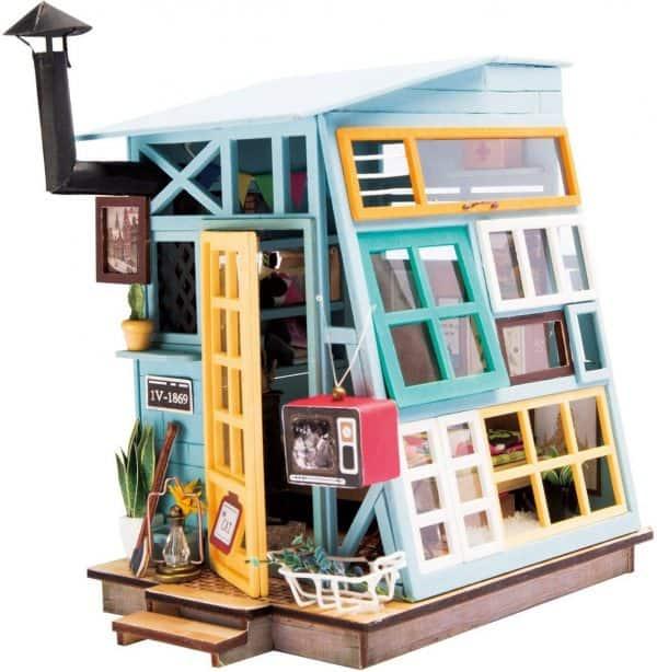 Robotime Houten Hut DGM03 - Houten Modelbouw - Mini Poppenhuis met LED licht - DIY