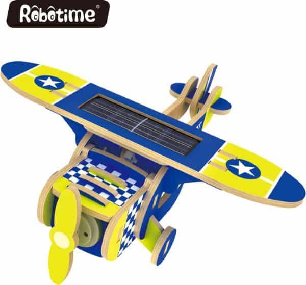 Robotime P210S houten speelgoed vliegtuig met zonnecel