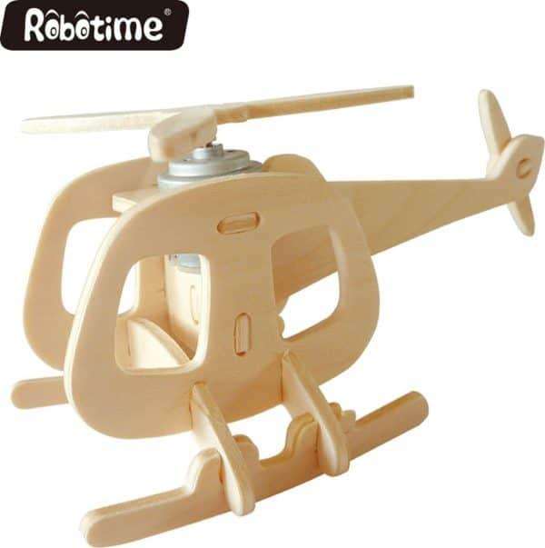 Robotime P240 houten helicopter met zonnecel