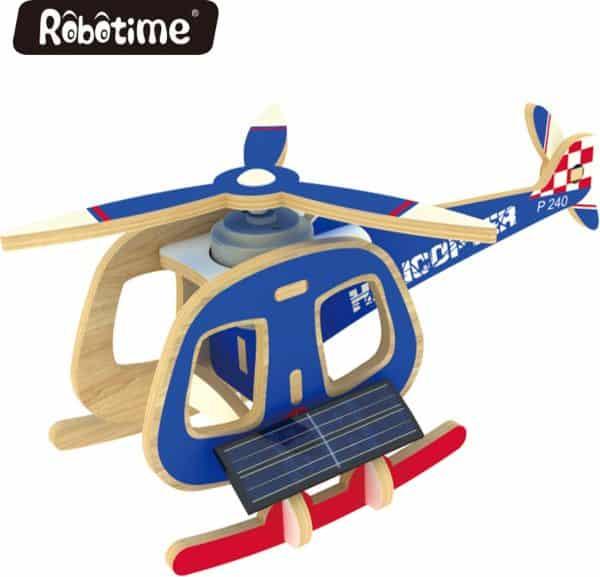 Robotime P240S houten helicopter met zonnecel