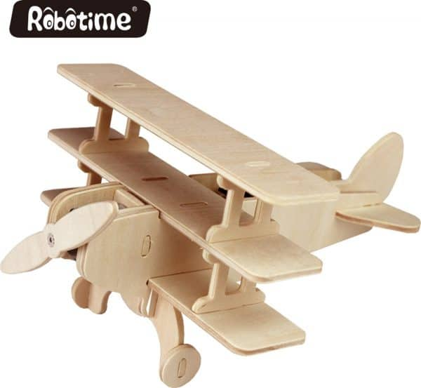 Robotime P250 houten speelgoed vliegtuig met zonnecel