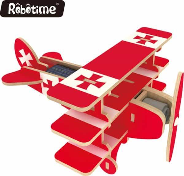 Robotime P250S houten speelgoed vliegtuig met zonnecel