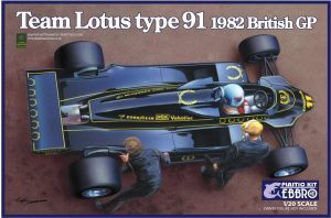 Team Lotus Type 91 1982 British GP Ebbro Modelbouw pakket 1/20